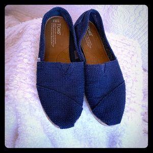 Toms Navy Blue flat shoes women's size 8.5.